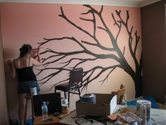 how to paint a cherry blossom tree mural - Google Search