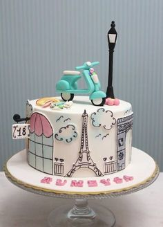 Vespa Paris Themed Cake - sketch line art paint on cake skyline Eiffel Tower Vespa French France Light Pole