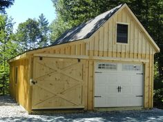 J&N Structures are custom garage builders in PA offering one and two car garages. Backyard Barn, Backyard Sheds, Garden Sheds, Barn Garage, Garage Plans, Garage Ideas, White Garage Doors, Garage Construction, Garage Builders