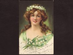 Girl with a crown of lily of the valley, German postcard - Young lady, art nouveau, antique postcard, edwardian greeting card - 1905 (V3-13)