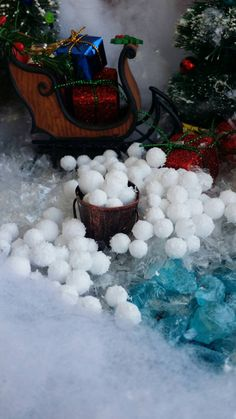 75 Miniature snow balls, Christmas Village Accessories, Fairy winter, Craft DIY snowballs, Dolhouse Snowballs