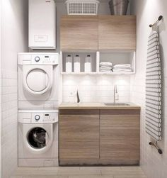Best 20 Laundry Room Makeovers - Organization and Home Decor Laundry room decor Small laundry room organization Laundry closet ideas Laundry room storage Stackable washer dryer laundry room Small laundry room makeover A Budget Sink Load Clothes Modern Laundry Rooms, Laundry In Bathroom, Basement Laundry, Laundry Area, Bathroom Small, Bathroom Modern, Small Laundry Sink, Small Laundry Closet, Feminine Bathroom