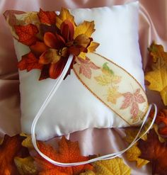 Fall Wedding Maple Leaf and Burnt Orange Orchids Ring Bearer Pillow | All4Brides - Wedding on ArtFire