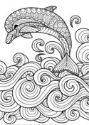 Zentangle Dolphin with Scrolling Sea Wave Coloring page