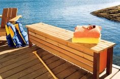Beautiful storage box for the dock that also functions as a bench. Photo by Roger Yip