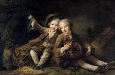 Drouais, François-Hubert - The Children of the Duc de Bouillon - 1756 Note:  she shoe construction, the breeches knee bands,