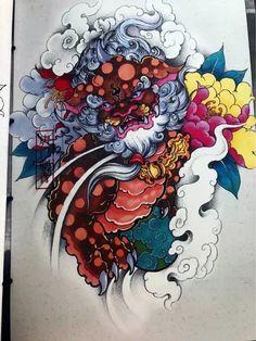 Fu Dog, Unicorn, Dragon, Japanese, Fish, Tattoos, Tatuajes, Dibujo, Art