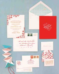 "Cheree, bride and owner of Cheree Berry Paper, a stationery and graphic-design company, created invitations with creamy envelopes addressed in swirls of red calligraphy, with the words ""love mail"" printed in the corner. Different printing techniques (including engraving and letterpress), unexpected touches (the origami chart of St. Louis attractions), and fanciful details (the bee on the reply card) give a richly layered feel. Cheree, deeming a palette of reds, oranges, and pinks ""too…"