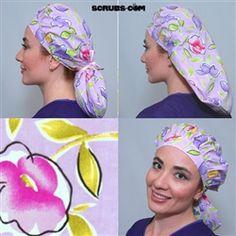 Green Scrubs - Mega Tie Hat - Lavender Petals