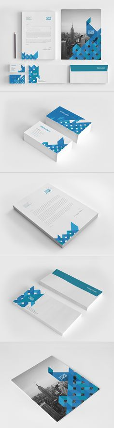 Modern Blue Square Stationery on Behance