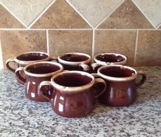 Set of 6 Vintage Brown Drip 2 Handled Soup by ContemporaryVintage