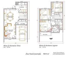 Planta Baixa De Sobrado Com 3 Quartos Home Design Floor Plans, House Floor Plans, Architecture Plan, Contemporary Architecture, Narrow House Plans, Moraira, Asian House, House Layouts, Autocad