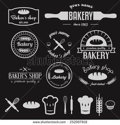Set of vintage bakery logos, labels, badges and design elements - stock vector