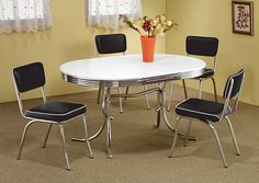 Jennifer Convertibles: Sofas, Sofa Beds, Bedrooms, Dining Rooms & More! Oval Retro Dining Table w/ 4 Chrome Plated Retro Dining Chairs