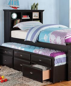This Black Twin Trundle Bed & Drawers is perfect! #zulilyfinds
