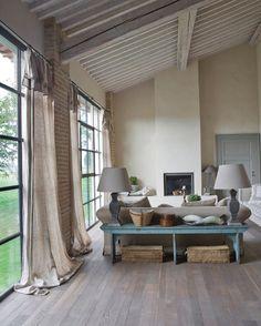 Italian Farmhouse Decor Goes Minimalist – The New Rustic Decor - Home Design Farmhouse Remodel, House Styles, Italian Farmhouse, Rustic House, Floor To Ceiling Windows, House Design, Home And Living, Home Living Room, Interior