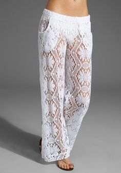 Inspiration ~ {Trina Turk Kuta Crochet Cover Up Pants on shopstyle.com}