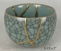 kintsugi repair gift - celadon crackled Japanese bowl -http://lakesidepottery.com/