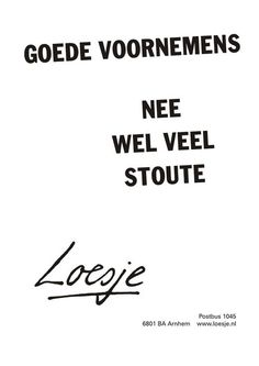 nee, wel veel stoute - Loesje New Years resolutions? No, just a lot of naughty plans! Naughty Quotes, Happy Quotes, Funny Quotes, Year Quotes, Quotes About New Year, Life Quotes, Words Quotes, Wise Words, Qoutes