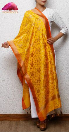 Yellow Handwoven Banarasi Silk Stole with Zari Work by IR Studio at Indianroots.com