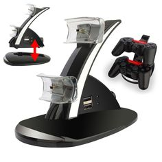 For Playstation 3 PS3 Black Dual Controller Charger Charging Station Stand Dock #YCCTEAM