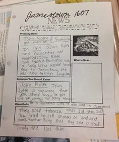 Jamestown 1607 Lesson  (Newspaper)