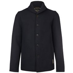 SCOTCH&SODA Short jacket in wool quality with knitted rib shaw, black