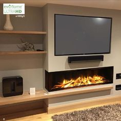 Don't love colours but like gas log fire Fireplace Feature Wall, Feature Wall Living Room, Fireplace Tv Wall, Living Room Wall Units, Fireplace Built Ins, Wood Burner Fireplace, Modern Fireplace, Living Room Flooring, Diner Decor