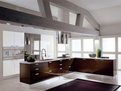 brown modern open kitchen with brown backsplash and white cabinet storage