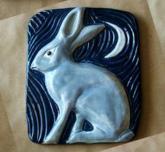 Hand Sculpted Grey Jack Rabbit Wall Tile With Navy Blue Background - Glazed Porcelain Ceramic Art Home Decor Bas Relief Wall Hanging