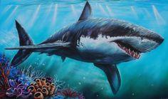 airbrush painting | Under the sea paintings | Pinterest Ocean Sleeve Tattoos, Ocean Tattoos, Shark Tattoos, Shark Painting, Air Brush Painting, Shark Drawing, Airbrush Art, Shark Photos, Orcas