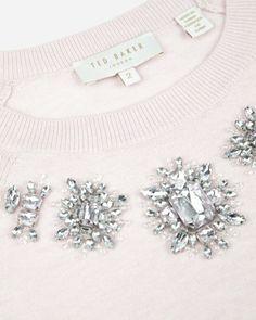 Embellished jumper - Nude Pink | Knitwear | Ted Baker UK