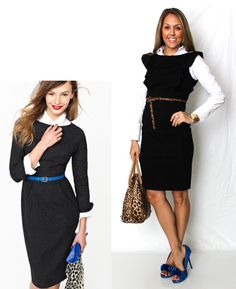 I love the idea of wearing a collared shirt under your LBD to get more use  out of it! And I think J.Crew's styling is spot-on with the leopard and  cobalt accessories. That said, I gave it a spin with my own clothes, but