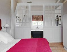 Attic spaces are considered to be difficult to decorate due to the roofs of various shapes. Let's look at some examples of attic bathroom décor that use every inch space at maximum and look very… Continue Reading → Loft Conversion Extension, Attic Conversion, Attic Bathroom, Upstairs Bathrooms, Bathroom Wall, Master Bathroom, Bathroom Ideas, Attic Master Suite, Door Dividers