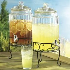 Round Covered Infusion Drink Dispenser With Wrought Iron Stand