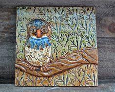 Baby Owl Art TIle LaPella Pottery on Etsy