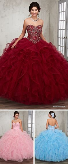 Mary's Quinceanera Style 4Q506 • Tulle quinceanera ball gown with strapless sweetheart neck line, basque waisted bodice embellished with beading detail, ruffle skirt, lace-up back, and matching bolero.