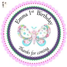 """40 Round Labels 2"""" Personalized Stickers, Butterfly Customized Hangtags, Party Favors Labels, Cupcake Toppers, Choice Of Size - Cake and cupcake toppers (*Amazon Partner-Link)"""