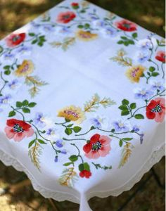 Vintage white large embroidered tablecloth handmade set of Floral Embroidery Patterns, Embroidery Art, Cross Stitch Embroidery, Embroidery Designs, Vintage Tablecloths, Embroidery Transfers, Sewing Art, Cross Stitching, Needlework