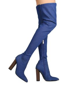 c5a3f89b101f Details about New Women Cape Robbin Connie-10 Denim Thigh High Pointy Toe  Chunky Heel Boot