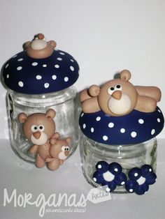 Wine Bottle Crafts, Jar Crafts, Diy And Crafts, Clay Jar, Mug Art, Bear Party, Play Clay, Recycled Bottles, Polymer Clay Crafts