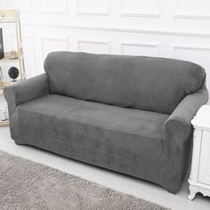 Beau Sofa Covers Slip Over Easy Fit Elastic Fabric Couch Stretch Settee  Slipcovers Protector 2 Seater Grey