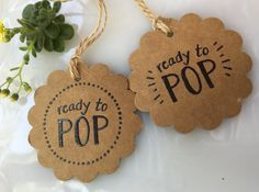 Set of 20 hand embossed ready to POP baby shower favor tags. Attach to a bag of popcorn, a container of popcorn kernels, a mini bottle of champagne, a pack of bubble gum, a lollipop, or a cake pop for your special guests. Each tag is hand punched from high quality sturdy card
