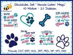 Stickmuster - Stickdatei Hunde Liebe Mega Set - ein Designerstück von binimey-stickdateien bei DaWanda
