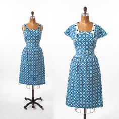1940s Cotton Sundress: Blue & White Two Piece Set, Sleeveless wi Capelet, 40s Summer Beach Resort, Day Dress Novelty Print by missfarfalla on Etsy https://www.etsy.com/listing/198363888/1940s-cotton-sundress-blue-white-two