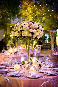 Dahlia, Hydrangea %26 Rose Arrangement Photography: Kevin Weinstein Photography Read More: http://www.insideweddings.com/weddings/high-school-sweethearts-say-i-do-at-personalized-jewish-wedding/977/