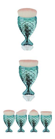 Joyful 4PCS Fish Scale Makeup Brush Fishtail Bottom Brush Powder Blush Makeup Cosmetic Brushes Tool (Blue)