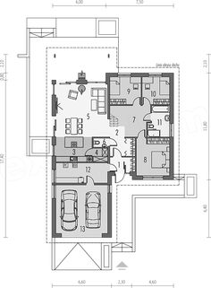 Detail by detail connected in a house plan can make your dream house reachable! We are presenting a detailed plan of the house with a large garage and. Modern House Plans, House Floor Plans, Interior Concept, Scandinavian Home, Traditional House, Modern Bedroom, Exterior Design, Ideal Home, Modern Design