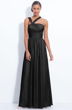 ML Monique Lhuillier Bridesmaids Twist Shoulder Satin Chiffon Gown (Nordstrom Exclusive) available at #Nordstrom