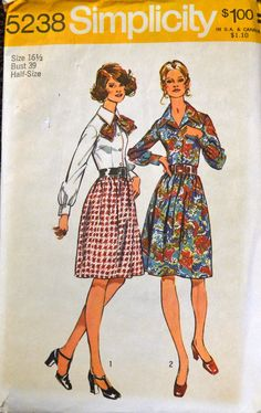 Simplicity 5238 Shirtwaist Dress bust 39 inches by GoofingOffSewing on Etsy